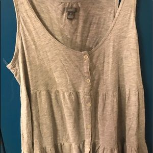 Aerie Grey Flowy Button Tank